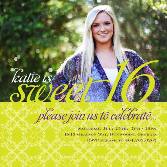 party invitations - katie's sweet 16 by Laura Buchanan