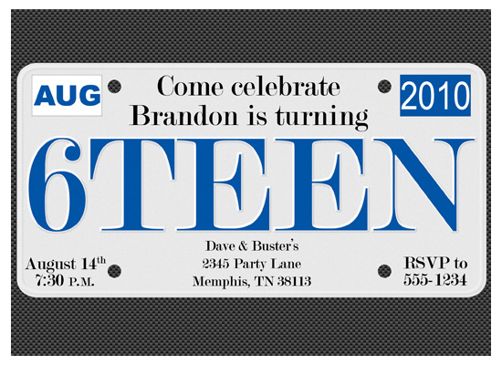 party invitations - 6Teen License Plate by The Picture Portal