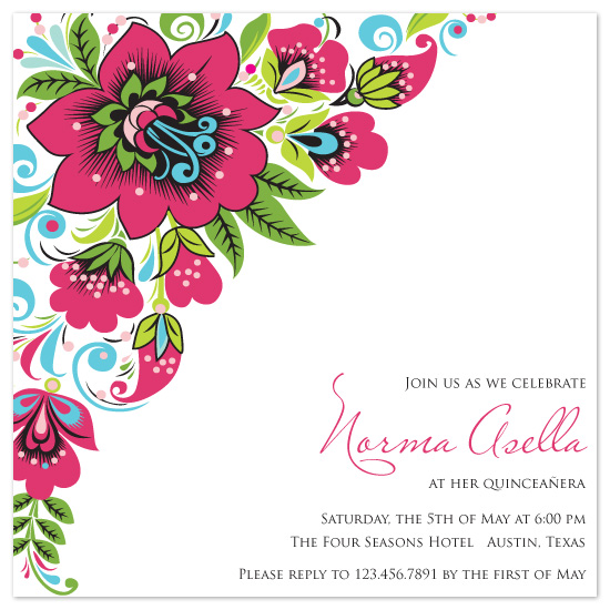 party invitations Spanish Bouquet at Mintedcom