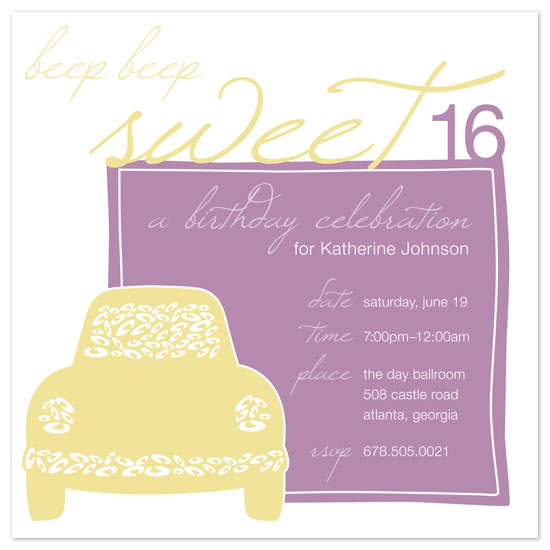 party invitations - Beep, Beep... Sweet Sixteen! by JM