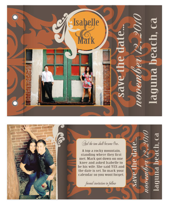minibook cards - Rustic Damask Save the Date by Sadie Visser Designs