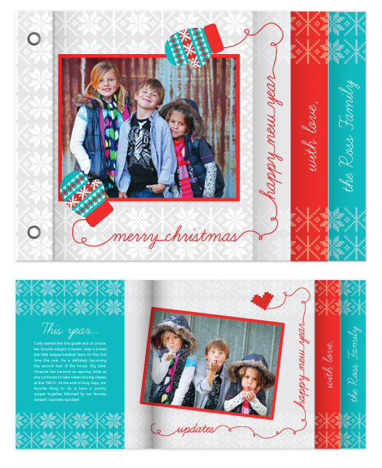 minibook cards - Fair Isle Christmas by angel b lee