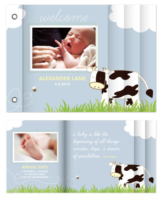 minibook cards - Baby Moo by Sara Heilwagen