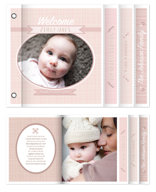 minibook cards - Welcome Baby! Pink Announcement by Rachel Wiles/Benign Objects