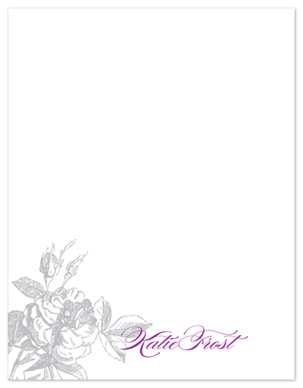personal stationery - Engraved Rose by Laurel Goodroe