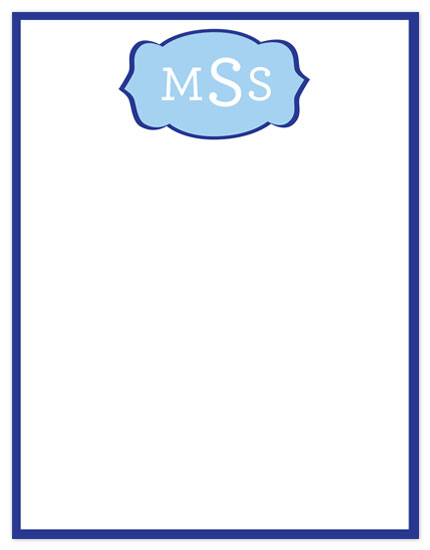 personal stationery - Fun Blue Flourish Initials Design by mdesigns