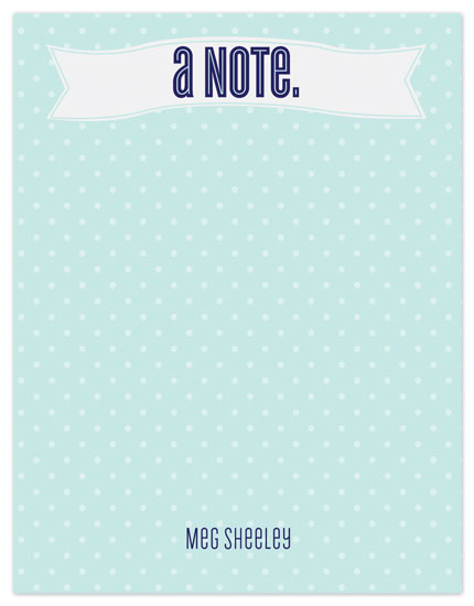 personal stationery - Turquoise Fun Dot Note by mdesigns