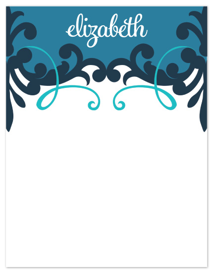 personal stationery - Elizabeth Modern Scroll by Peach Blossom Paperie
