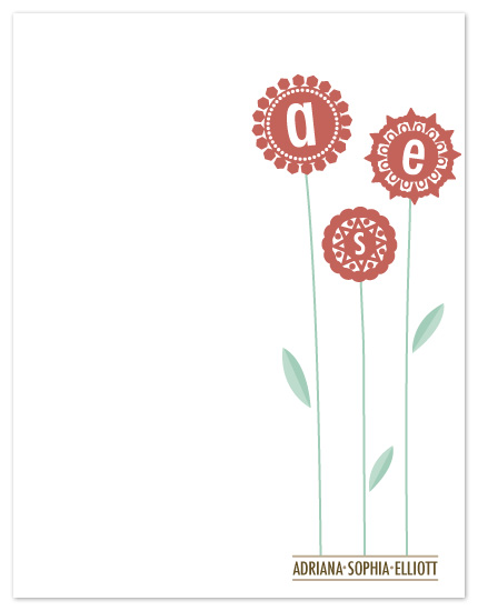 personal stationery - Flower Initials by Kate Lissi