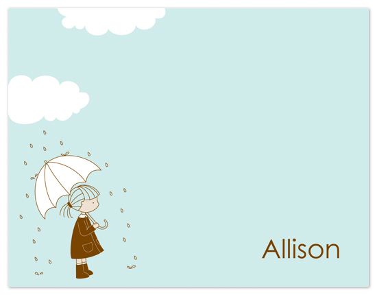 personal stationery - Little Girl in a Raincoat by Gaby Contreras