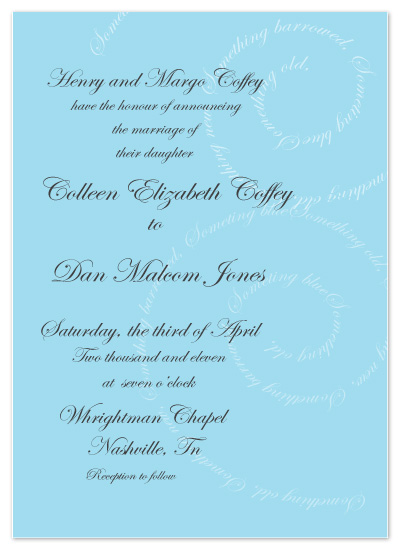 wedding invitations - Something Old, Something New, Something Borrowed, and Something Blue!  by Jennifer Stein of PS Designs Etc.