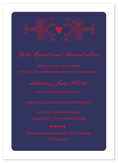 wedding invitations - Lobster Love by Kathleen Burlew