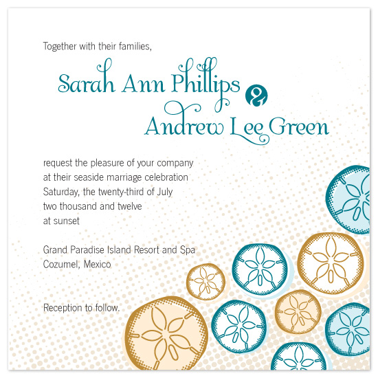 wedding invitations - Scattered Sand Dollars by melmade