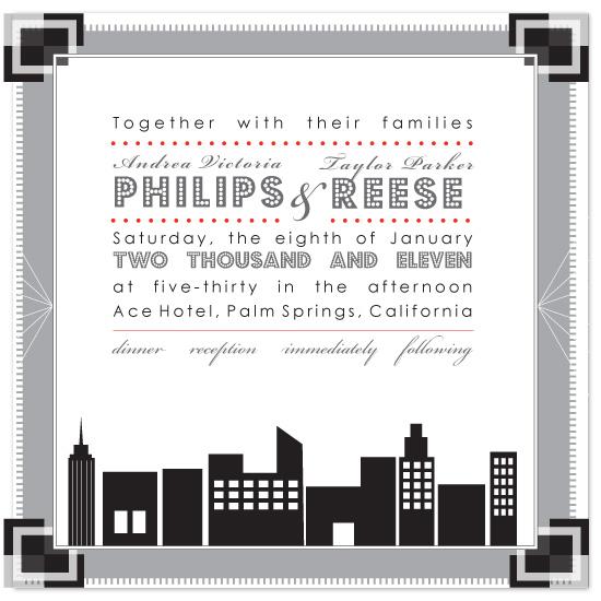 wedding invitations - Art Deco Cityscape by Michelle Viesselman