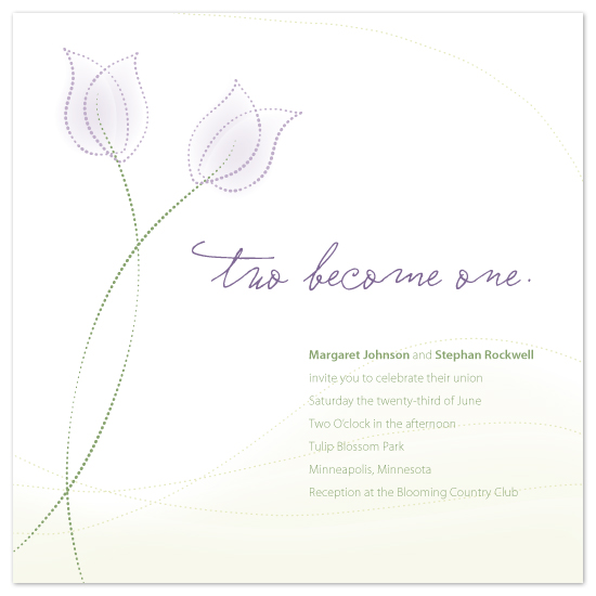 wedding invitations - Two become one — Tulips by Jodi Baglien Sparkes