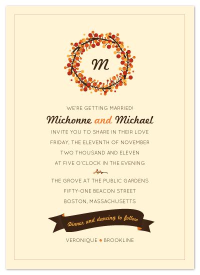wedding invitations - Fall Berries by Tanya Williams