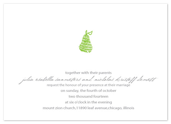 wedding invitations - Simple Pear by Rock Candy