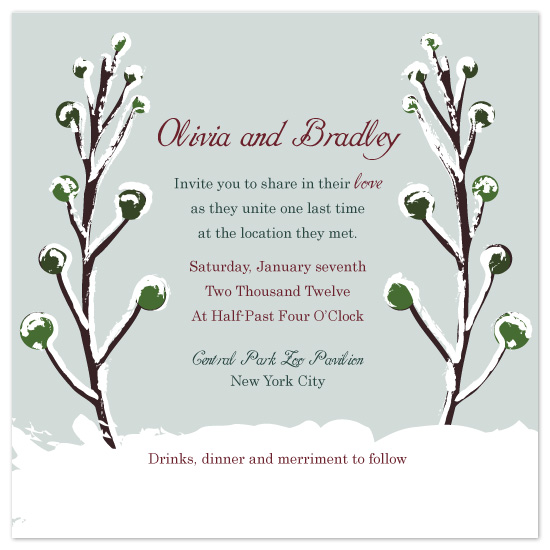 wedding invitations - Snowy Branches by melmade