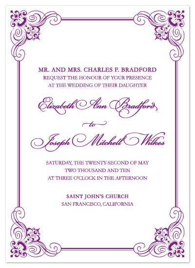 wedding invitations ornate scroll frame at Mintedcom