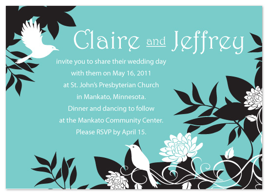 wedding invitations - Feathers and Dahlias by LindyLou Design