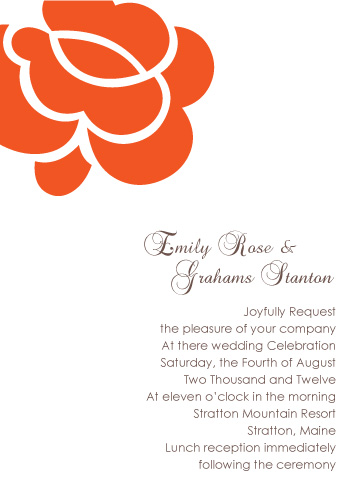 wedding invitations - Bold Orange Rose by Jenny Diederich