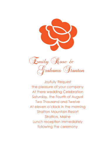 wedding invitations - Small Orange Rose by Jenny Diederich