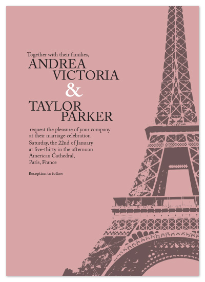 wedding invitations - Tickled Pink in Paris by Paula B