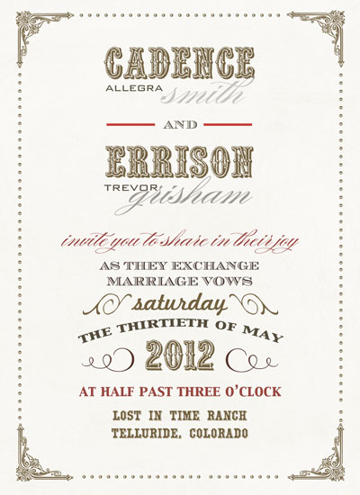 wedding invitations - Old West Vintage Wedding by zori levine