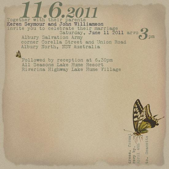 wedding invitations - typewriter letters and butterflies by bernee lee