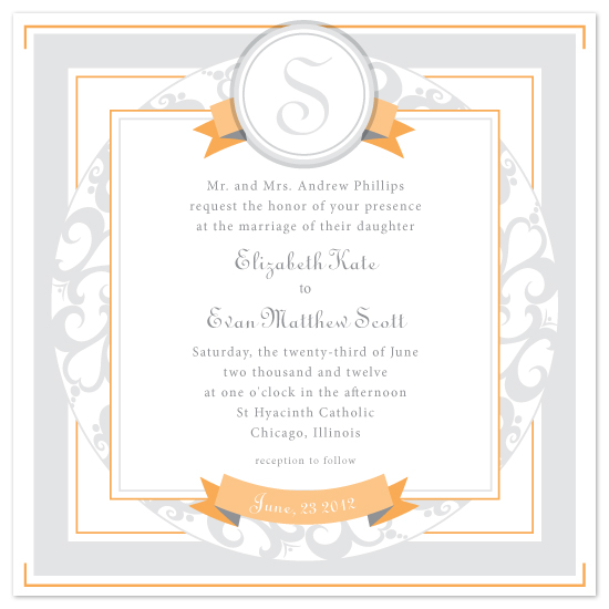 wedding invitations - Scroll Emblem by April Muschara