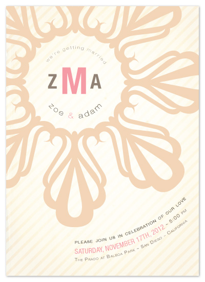 wedding invitations - Striped Floral Emblem by Lizzy B Loves
