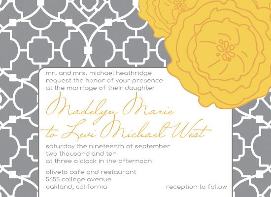 wedding invitations - Big Yellow Poppy by Angela Scheffer