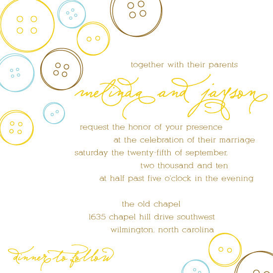 wedding invitations - Button Love by Angela Scheffer