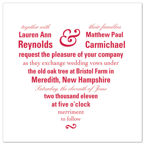 wedding invitations - Two of Hearts by Sarah Drake