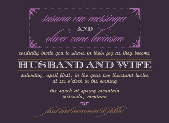 wedding invitations - gilded in purple  by zori levine