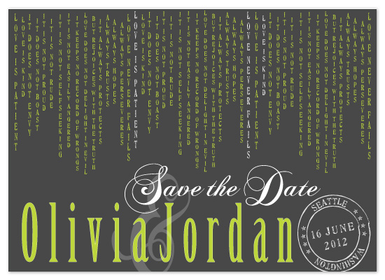 save the date cards - Love is Patient by Claar Design