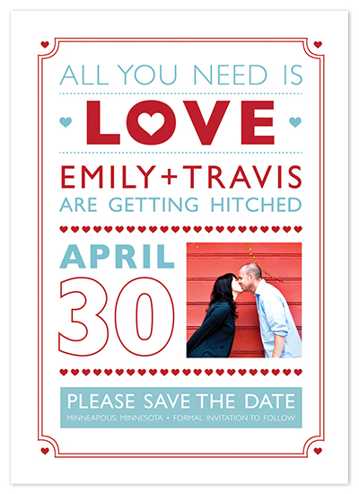 save the date cards - All you need is LOVE by Etcetera Design