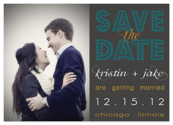 save the date cards - Winter in teal & gray by Claar Design