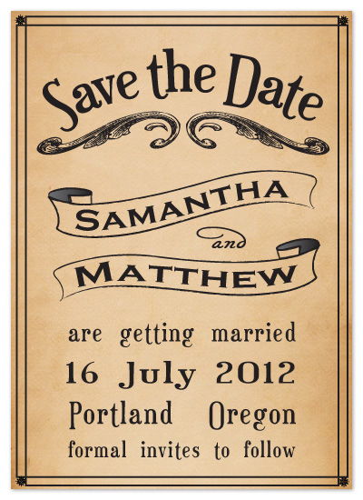 save the date cards - Vintage Playbill by Claar Design