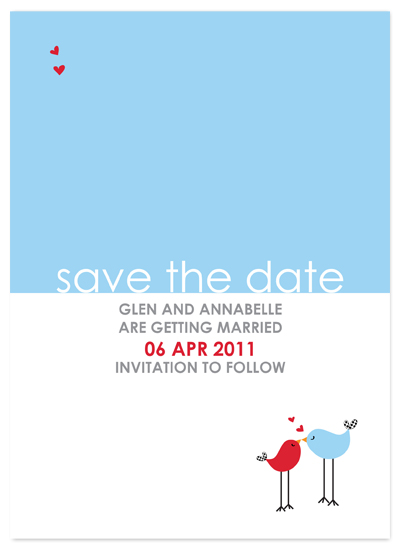 save the date cards - cute lovebirds by jot and scribble