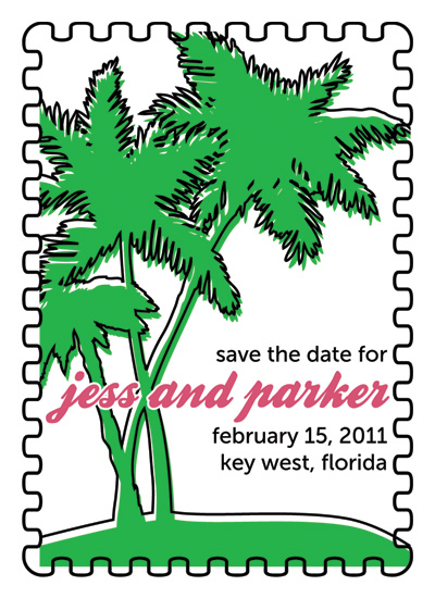 save the date cards - Tropical Postage Stamp by Custom Printables