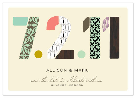 save the date cards - Pattern Numbers by Alethea and Ruth