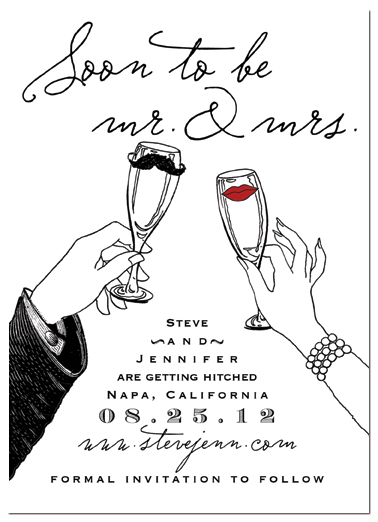 save the date cards - mr. mustache and mrs. lips by melody appel