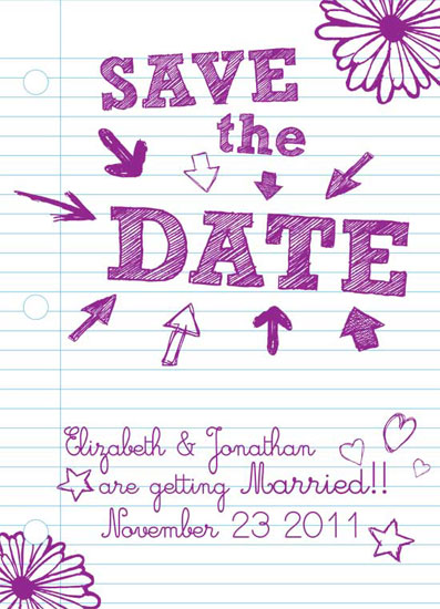 save the date cards - Sketchy Times at Ridgemount High by Dream Tree Design