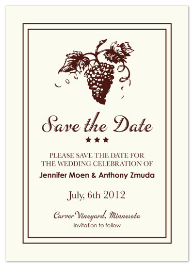 save the date cards - A Perfect Day at the Vineyard by Perfect Day Wedding Invitations