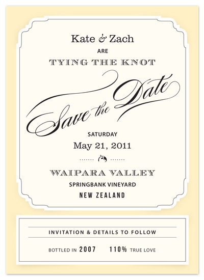 save the date cards - Posh Wine Label by Cococello