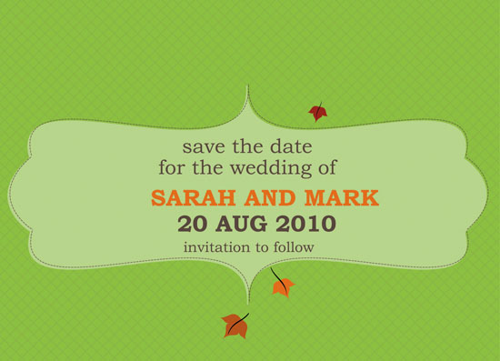 save the date cards - Falling Leaves by jot and scribble