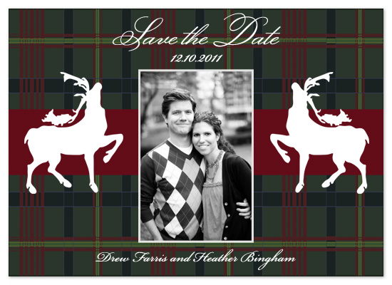 save the date cards - Rejoicing Reindeer by Scriptiva Paper