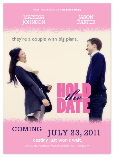 save the date cards - Rom-Com by Carrie English