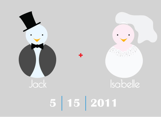 save the date cards - Bride and Groom Lovebirds by Mary Veterano